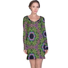 Repeated Geometric Circle Kaleidoscope Long Sleeve Nightdresses by canvasngiftshop