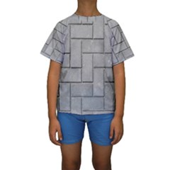 Alternating Grey Brick Kid s Short Sleeve Swimwear by trendistuff