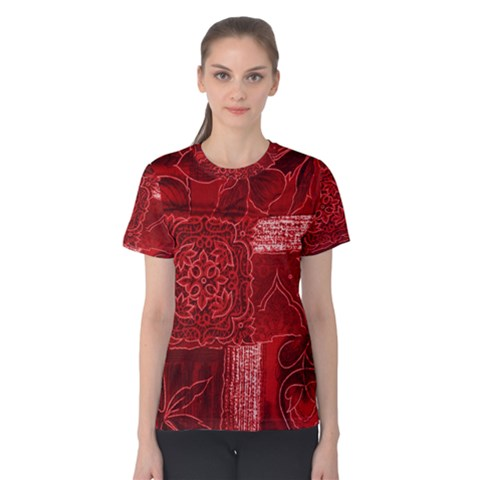 Red Patchwork Women s Cotton Tee by trendistuff