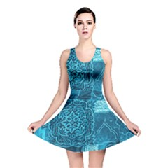 Blue Patchwork Reversible Skater Dresses by trendistuff