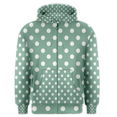Mint Green Polka Dots Men s Zipper Hoodies by creativemom
