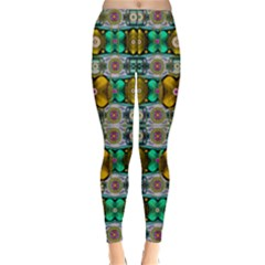 Rainbow Flowers And Decorative Peace  Winter Leggings  by pepitasart