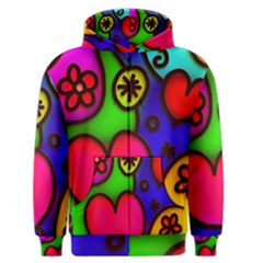Colorful Modern Love 2 Men s Zipper Hoodies by MoreColorsinLife
