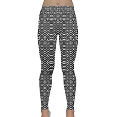Black And White Geometric Tribal Pattern Yoga Leggings by dflcprintsclothing