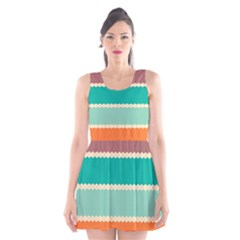 Rhombus And Retro Colors Stripes Pattern Scoop Neck Skater Dress by LalyLauraFLM
