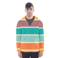 Rhombus And Retro Colors Stripes Pattern Mesh Lined Wind Breaker (men)