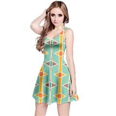 Rhombus Pattern In Retro Colors  Sleeveless Dress by LalyLauraFLM