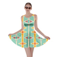 Rhombus Pattern In Retro Colors  Skater Dress by LalyLauraFLM
