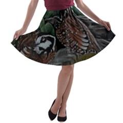 Bobwhite Quails A Line Skater Skirt by timelessartoncanvas