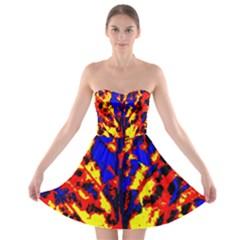 Fire Tree Pop Art Strapless Bra Top Dress by Costasonlineshop