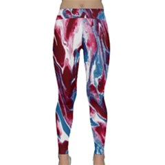 Blue Red White Marble Pattern Yoga Leggings by Costasonlineshop