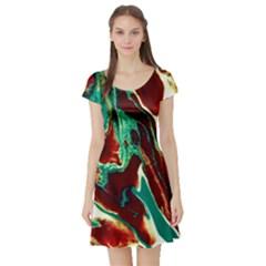 Brown Beige Marble Pattern Short Sleeve Skater Dresses by Costasonlineshop