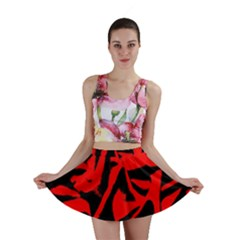 Red Black Retro Pattern Mini Skirts by Costasonlineshop