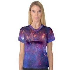 Milky Way Center Women s V Neck Sport Mesh Tee by trendistuff