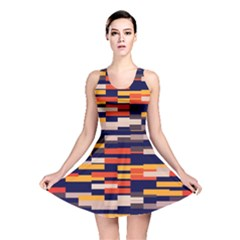 Rectangles In Retro Colors Reversible Skater Dress by LalyLauraFLM