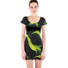 Green Northern Lights Short Sleeve Bodycon Dresses by Costasonlineshop