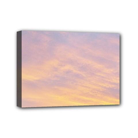 Yellow Blue Pastel Sky Mini Canvas 7  X 5  by Costasonlineshop