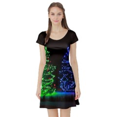 Christmas Lights 1 Short Sleeve Skater Dresses by trendistuff