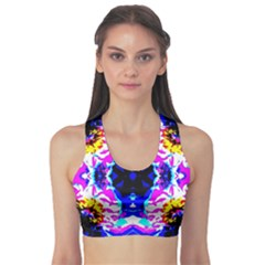 Animal Design Abstract Blue, Pink, Black Sports Bra by Costasonlineshop
