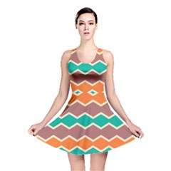 Colorful Chevrons Pattern Reversible Skater Dress by LalyLauraFLM