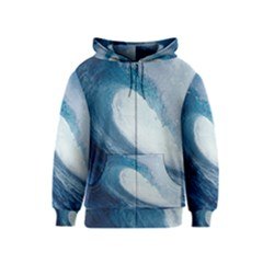 Ocean Wave 2 Kids Zipper Hoodies by trendistuff