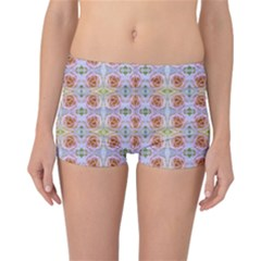 Pink Light Blue Pastel Flowers Reversible Boyleg Bikini Bottoms by Costasonlineshop