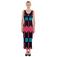 Rhombus And Stripes Pattern Fitted Maxi Dress by LalyLauraFLM