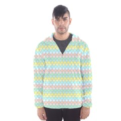 Scallop Repeat Pattern In Miami Pastel Aqua, Pink, Mint And Lemon Hooded Wind Breaker (men)