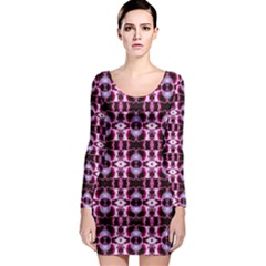 Purple White Flower Abstract Pattern Long Sleeve Bodycon Dresses by Costasonlineshop