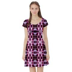 Purple White Flower Abstract Pattern Short Sleeve Skater Dresses by Costasonlineshop