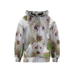 White Lion Cub Kids Zipper Hoodies by trendistuff