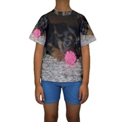 Puppy With A Chew Toy Kid s Short Sleeve Swimwear by trendistuff