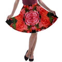Beautiful Red Roses A Line Skater Skirt by Costasonlineshop