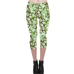 Officially Sexy Mint & Chocolate Cracked Pattern Capri Leggings