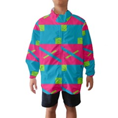 Rectangles And Diagonal Stripes Wind Breaker (kids) by LalyLauraFLM