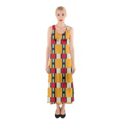 Rectangles And Squares Pattern Full Print Maxi Dress by LalyLauraFLM
