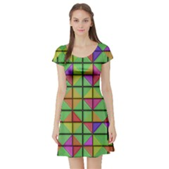 3d Rhombus Pattern Short Sleeve Skater Dress by LalyLauraFLM