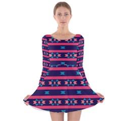 Stripes And Other Shapes Pattern Long Sleeve Velvet Skater Dress by LalyLauraFLM