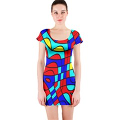 Colorful Bent Shapes Short Sleeve Bodycon Dress by LalyLauraFLM