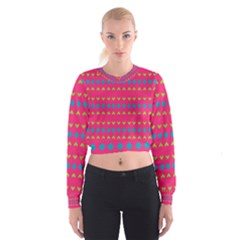 Hearts And Rhombus Pattern   Women s Cropped Sweatshirt by LalyLauraFLM