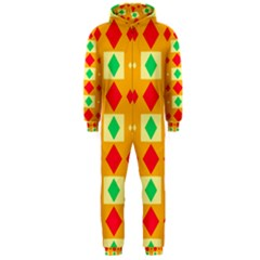 Green Red Yellow Rhombus Pattern Hooded Jumpsuit (men) by LalyLauraFLM
