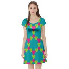 Triangles Honeycombs And Other Shapes Pattern Short Sleeve Skater Dress by LalyLauraFLM