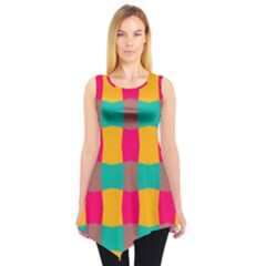 Distorted Shapes In Retro Colors Pattern Sleeveless Tunic