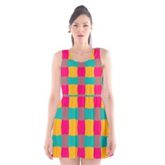 Distorted Shapes In Retro Colors Pattern Scoop Neck Skater Dress by LalyLauraFLM