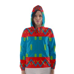 Chevrons And Rectangles Hooded Wind Breaker (women)