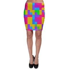 Colorful Tetris Shapes Bodycon Skirt by LalyLauraFLM