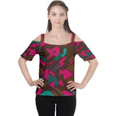Brown Pink Blue Shapes Women s Cutout Shoulder Tee by LalyLauraFLM