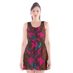 Brown Pink Blue Shapes Scoop Neck Skater Dress by LalyLauraFLM