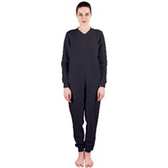 Carbon Fiber Graphite Grey And Black Woven Steel Pattern Onepiece Jumpsuit (ladies)  by PaperandFrill
