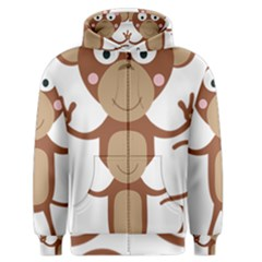 Female Monkey With Flower Men s Zipper Hoodie